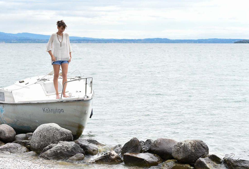 Foto di Corinna su una barca